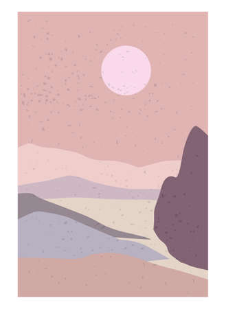 Landscape Abstract Modern Contemporary background sunset. Mountains, hills, waves shapes. Vector illustration trendy art flat minimalist style template banner poster decor Illustration