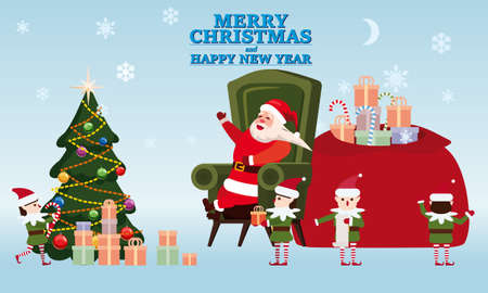 Merry Christmas and Happy New Year Santa Claus with his elf helpers and deers gives gifts to children in his residence. In conditions of the COVID 2019 pandemic in medical masks, Social distancing. Vector illustration