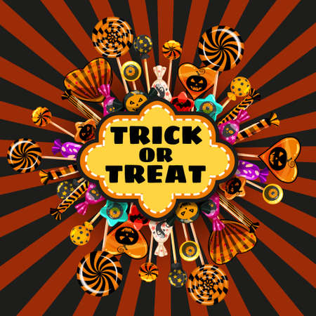 Halloween Trick or Treat banner Candy and sweets template. Autumn october holiday tradition celebration poster. Vector illustration isolated Illustration