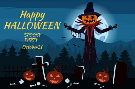 Happy Halloween Scarecrow character at the cemetery with a Jack O Lantern head pumpkin in ripped coat. Isolated on white background cartoon style Illustration
