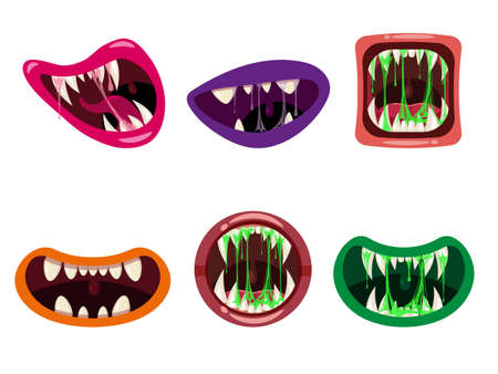 Set Monsters mouths creepy and scary. Funny jaws teeths tongue creatures expression monster horror saliva slime. Vector isolated illustration cartoon style