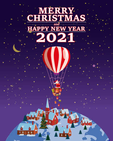 Santa Claus Van with text Merry Chrismas and Happy New Year 2021 flying in flying in a hot air balloon delivering shipping gifts on night winter town