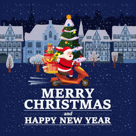 Santa Claus Van with text Merry Chrismas and Happy New Year 2021 rides a scooter delivering shipping gifts on night winter town. Vector illustration isolated cartoon style