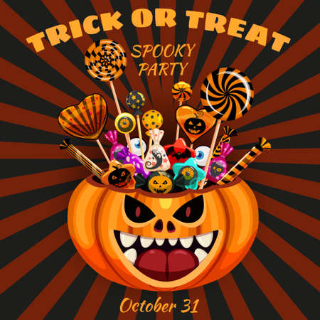 Halloween Trick or Treat Pumpkin Bag basket full of Candies and Sweets. Autumn october holiday tradition celebration banner poster template. Vector illustration isolated