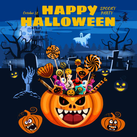 Happy Halloween Pumpkin Bag basket full of Candies and Sweets. Autumn october holiday tradition celebration dark mansion cemetery banner poster template. Vector illustration isolated Illustration