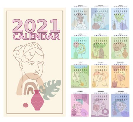 2020 Calendar Womans Face Minimal Line Art. Set of 12 months one line woman contemporary portrate abstract collage with colorful geometric shape. Fashion female faces modern trendy style. Calendar editable line vector Illustration