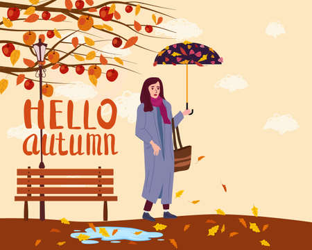 Hello Autumn Young woman in the autumn park city with umbrella, trendy clothes street fashionable style, lettering, fall mood. Trendy vector style isolated