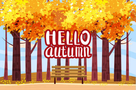 Autumn Park landscape yellow orange red foliage trees, walkway bench. Hello Fall lettering mood outdoor cityscape. Vector isolated illustration isolated