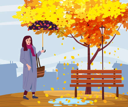 Young woman in the autumn park city with umbrella, trendy clothes street fashionable style outwear female, fall mood. Trendy vector style isolated 免版税图像 - 157918168