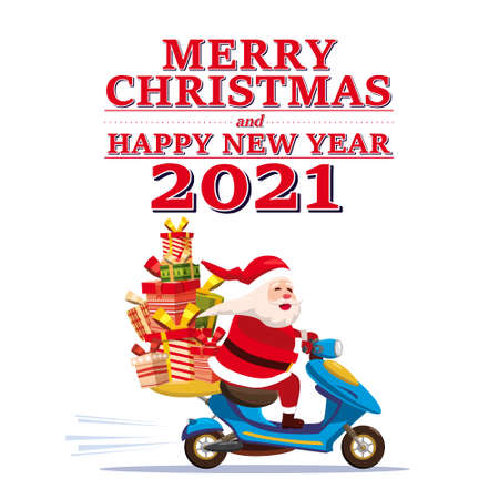 Santa Claus Van with text Merry Chrismas and Happy New Year 2021 rides a scooter delivering shipping gifts. Vector illustration isolated cartoon style