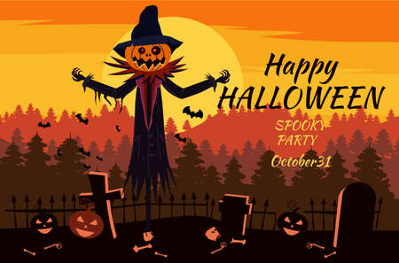 Happy Halloween Scarecrow character at the cemetery with a Jack O Lantern head pumpkin in ripped coat. Isolated on white background cartoon style