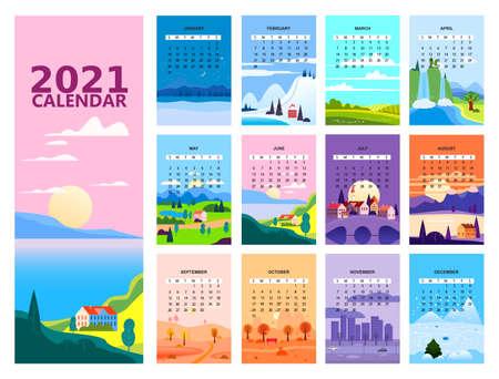 2021 Calendar minimalistic landscape natural backgrounds of four seasons