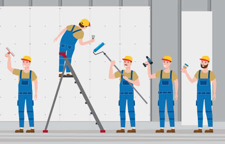 Set Construction workers with cordless screwdriver, brush, plastering trowel tool, rollerbrush in workwear. Craftsman character vector isolated