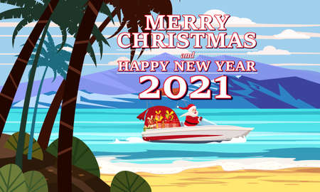 Merry Christmas Santa Claus on speed boat on ocean sea tropical island palms mountains seaside delivering shipping gifts