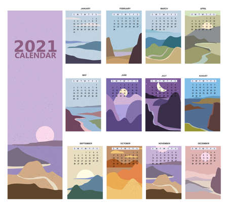 2021 Calendar minimalistic window view landscape natural backgrounds of four seasons. Winter wonderland, Fresh on Spring, Hot sunny day on Summer, Autumn with leaves falling. Set Minimal modern boho trendy style. Vector illustration