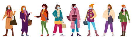 Group of womans wearing surgical masks, prevention and safety. Quarantine coronavirus 2019-nCoV 2 wave epidemic precautions. Trendy style vector illustration isolated
