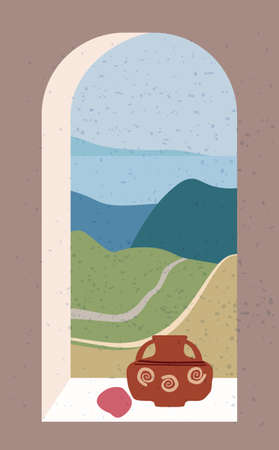 Open old window with landscape absctract view and stillife, vase, friut. Mountains sea and ocean. Minimal modern boho trendy style. Vector illustration flat isolated