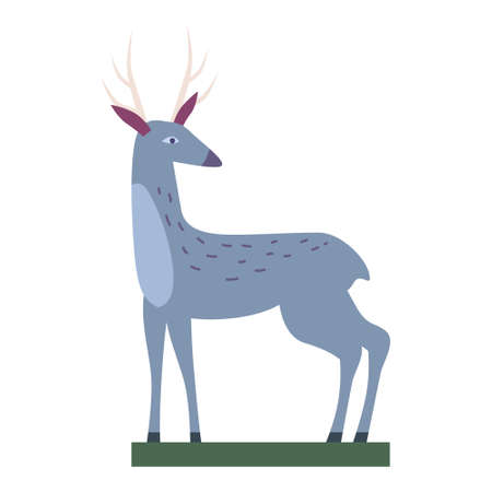 Retro Toy Deer Vector isolated vintage illustration trendy flat cartoon style