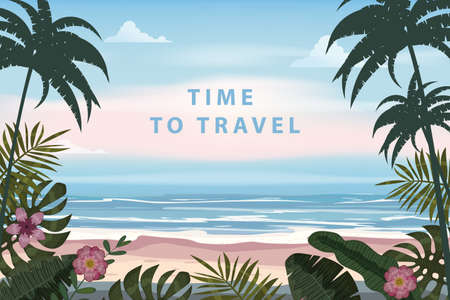 Time To Travel Summer Vacation Poster Retro. Seascape beach palms seachore tropical ocean, vector, illustration vintage banner
