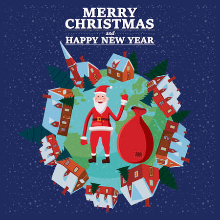 Merry Christmas and Happy New Year holiday Santa Claus carrying sack full of gifts, background Earth planet. Vector illustration isolated