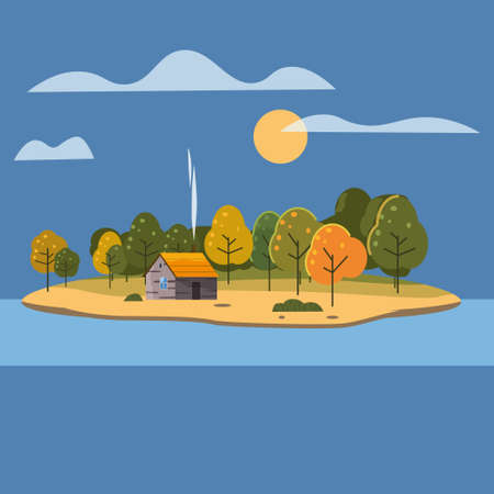 Beautiful Island landscape view on river or lake, autumn. Forest lonely house. Vector illustration background trendy flat style