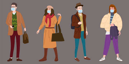 Set Young people womans mans in modern autumn trendy clothes. In medical mask, individual protection from viruses, smog, vapor. Fashion casual outerwear street style character. Flat cartoon style vector isolated