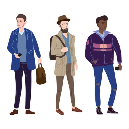 Set Young mans students in modern autumn trendy clothes. Fashion casual outerwear street style characters. Flat cartoon style vector isolated illustration