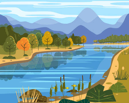 Landscape river flowing to mountains, hills. Coast autumn scenic forest, meadows. Vector illustration background poster banner trendy flat cartoon style