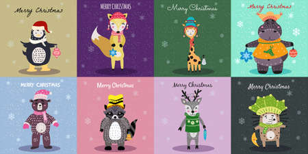 Christmas Animals Card Set cute hippo, fox, bear, hedgehog, raccoon, deer, penguin, giraffe. Hand drawn collection characters illustration vector isolated Illustration