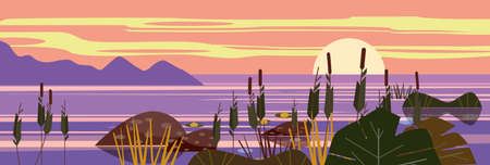 Beautiful landscape Sunset sea, lake, stones, reeds, flora, mountains. Vector illustration, trendy cartoon style, poster, banner