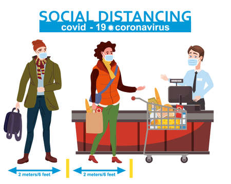 Supermarket social distancing store counter cashier and in medical masks, with cart and basket of food. Quarantine coronavirus 2019-nCoV 2 wave in the store epidemic precautions. Cartoon style vector illustration