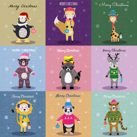 Christmas Animals Card Set cute fox, bear, cat, lion, raccoon, deer, penguin, panda, giraffe. Hand drawn collection characters illustration vector isolated
