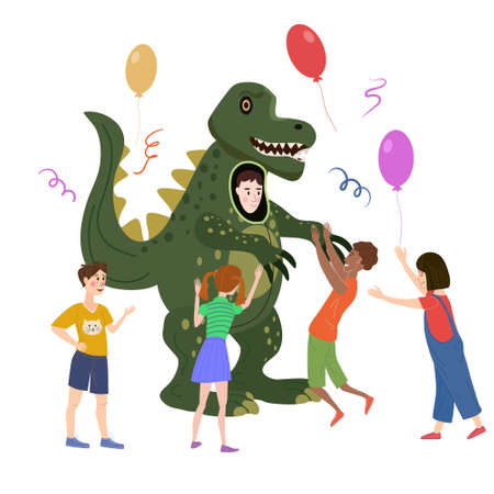 Holiday party actor entertainer wearing in costume Dinosaur, play with kids. Performance Birhday Carnaval Party, group children with adult animator. Vector cartoon flat style illustration isolated
