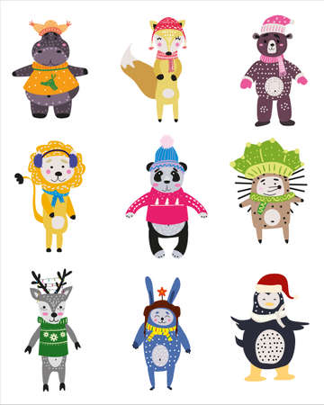 Christmas Animals set cute hippo, fox, bear, lion, panda, hedgehog, deer, rabbit, penguin. Hand drawn collection characters illustration vector isolated