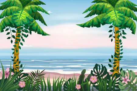 Summer Vacation Poster. Seascape beach palms seachore tropical ocean, vector, illustration banner