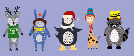 Christmas Animals set cute deer, rabbit, penguin, giraffe with scarf, hat and sweater. Hand drawn collection characters illustration vector isolated