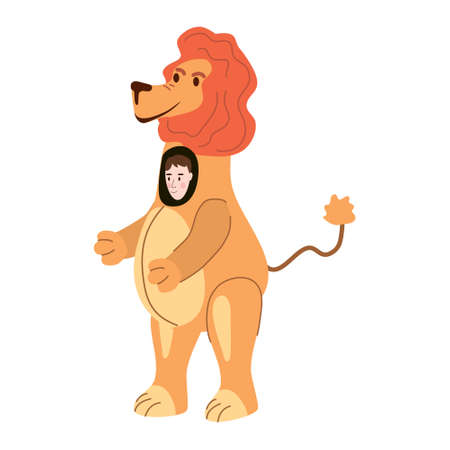 Actor in animal Lion costume. Theme party, Birthday kid, children animator, entertainer wearing performer character for holiday masquerade, carnival. Vector cartoon flat style isolated Illustration