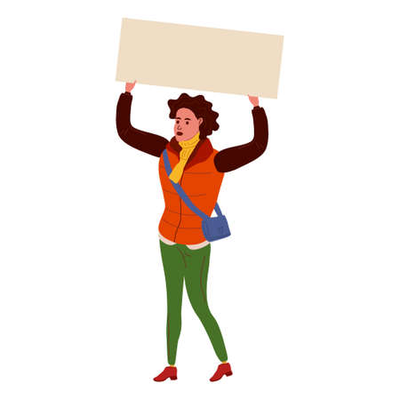 Protester black woman holding empty banner. Activist protesting, political meeting, strike human female rights. Vector illustration isolated