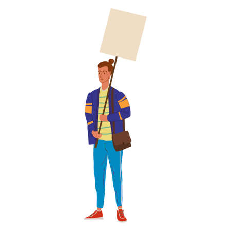 Protester man holding empty banner. Activist protesting, political meeting, strike human rights. Vector illustration isolated Illustration
