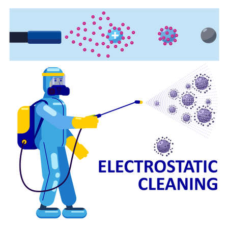 Electrostatic Disinfection Cleaning service. Man dressed in uniform in a special suit with equipment with electrostatic spray conducts disinfection