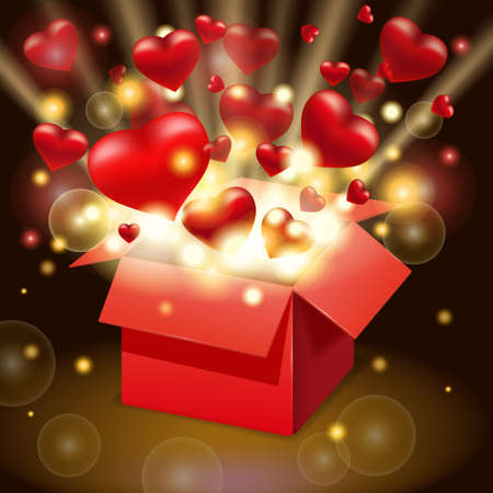 Open red gift box present with flying hearts and bright rays of light, burst explosion. Happy Valentines day gift box. Vector illustration poster, banner, card, isolated