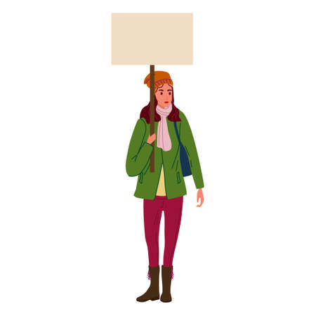 Protester woman holding empty banner. Activist protesting, political meeting, strike human female rights. Vector illustration isolated Illustration