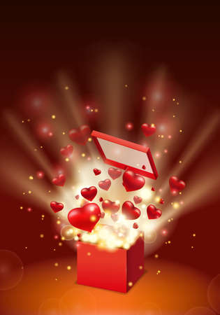 Happy Valentines day gift box open present with flying hearts and bright rays of light, burst explosion. Happy Valentines day gift box. Vector illustration poster, banner, card, isolated Illustration
