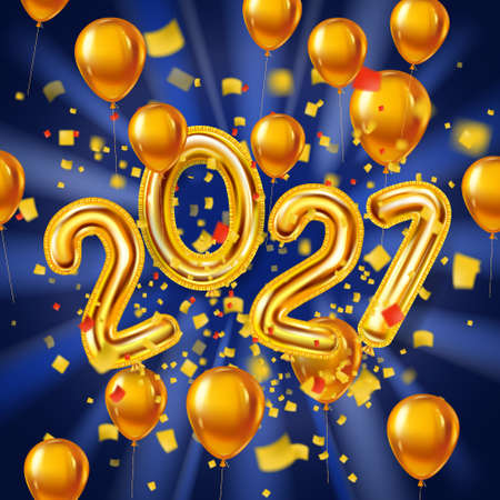Happy New Year 2021 decoration holiday background. Gold realistic 3d balloons foil metallic numbers and helium balloons, glitter gold confetti. Vector illustration celebrate festive party, poster, banner Banque d'images