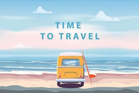 Summer Vacation Poster Time To Travel. Beach camping van, bus with surfboard seascape palms, ocean. Vector illustration retro, vintage, illustration, banner background