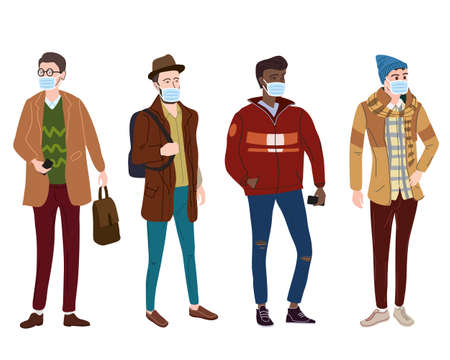 Set Young mans students in modern autumn trendy clothes. In medical mask, individual protection from viruses, smog, vapor. Fashion casual outerwear street style character. Flat cartoon style vector isolated