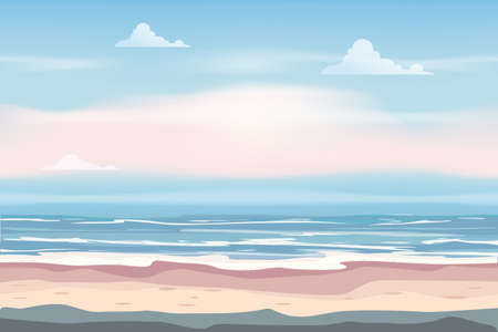 Summer Vacation Poster. Seascape beach seachore tropical ocean, vector, illustration banner Illustration