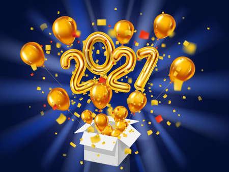 2021 Happy New Year background. Gold realistic 3d balloons foil metallic numbers gift box explosion of glitter gold confetti. Vector illustration celebrate festive party, poster Illustration