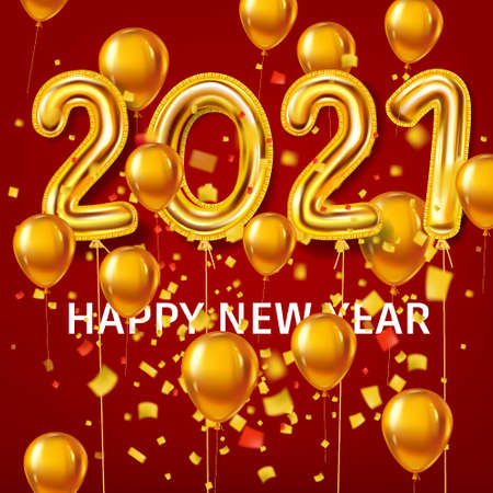 Happy New Year 2021 decoration holiday background. Gold realistic 3d balloons foil metallic numbers and helium balloons, glitter gold confetti. Vector illustration celebrate festive party, poster, banner Illustration