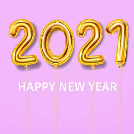 2021 Happy New Year decoration holiday background. Gold realistic 3d balloons foil metallic numbers. Vector illustration celebrate festive party, poster, banner, initation, layout design Illustration